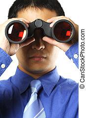 homem negócios, visão