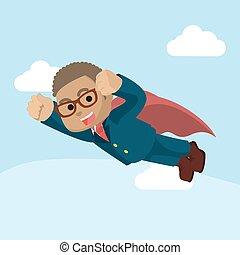 homem negócios, voando, superhero