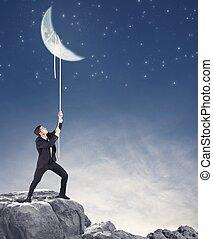 homem negócios, wants, lua