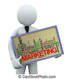 homem negócios, wordcloud, 3d, segurando, marketing