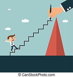 homem negócios, writting, escada, para, seu, sócio, para,...