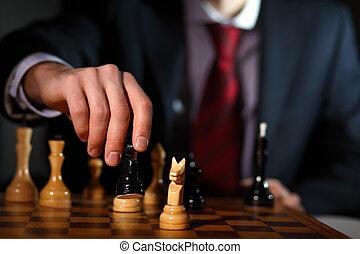 homem negócios, xadrez jogando