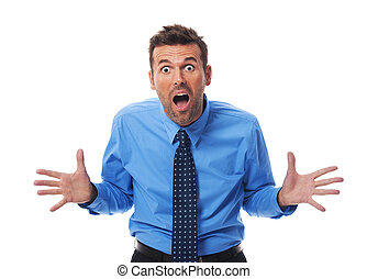 homem negócios, zangado, câmera, gritando, lado