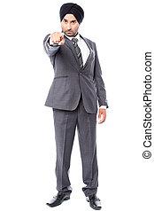 homem negócios, zangado, direção, tu, apontar