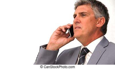 homem negócios, zangado, telefonando