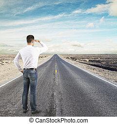 homem, olhar, para, horizonte