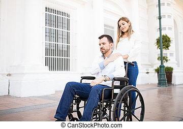 homem, olhar, triste, ligado, um, cadeira rodas