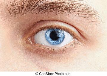 homem, olhos