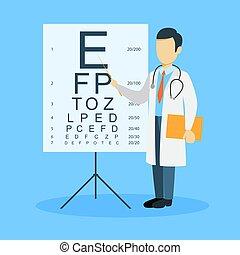 homem, ophtalmologist., isolado