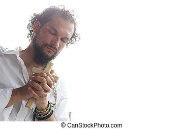 homem, orando, em, luz dia
