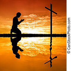 homem, orando, sob, a, crucifixos