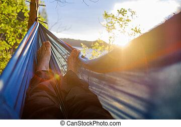 homem, pés, é, visto, close-up, de, um, rede, em, um, verão, floresta, ligado, um, fundo borrado, de, pinhos, e, um, lake.