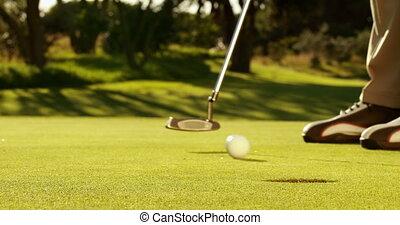 homem, pôr, seu, bola golfe, e, alegria