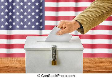 homem, pôr, um, voto, em, um, votando, caixa, -, eua