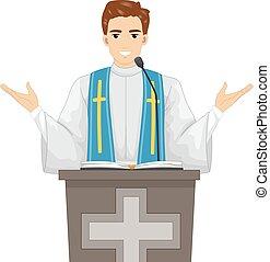 homem, padre, massa, ilustração, evangelizar