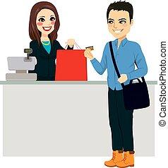 homem, pagar, com, cartão crédito