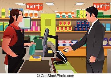 homem, pagar, em, a, caixa, usando, telefone