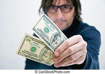 homem, pagar, em, dólares