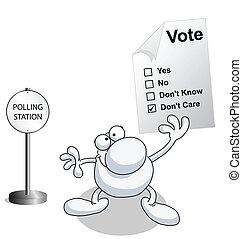 homem, papel, voto, segurando, votando