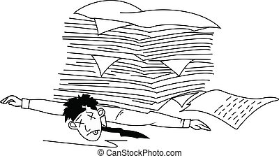 homem, paperwork, cansadas, sob