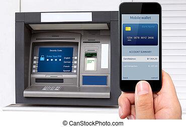 homem, passe segurar, a, telefone, com, móvel, carteira, e, cartão crédito, ligado, a, tela, contra, a, fundo, de, a, atm