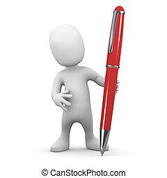 homem pequeno, caneta, 3d