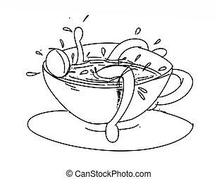 homem pequeno, em, um, xícara café, stylized, série, de, a, proposta, pequeno, pensando, homem