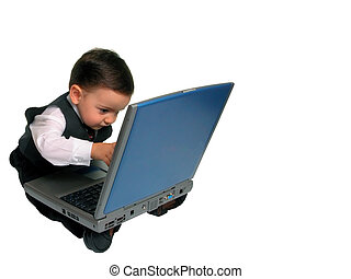 homem pequeno, laptop