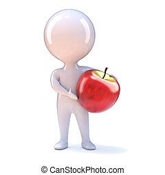 homem pequeno, maçã, 3d