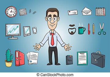 homem, personagem, negócio, pacote