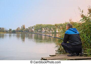 homem, pesca lago