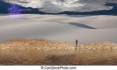 homem, plataformas, antes de, vasto, paisagem deserto