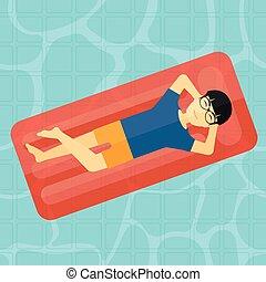 homem, pool., relaxante, natação