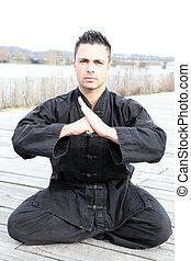 homem, prática, artes marciais, ao ar livre