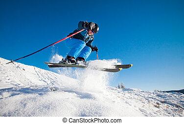 homem, prática, extremo, esqui, ligado, ensolarado