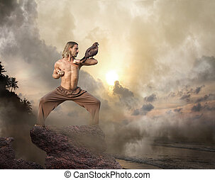homem, práticas, artes marciais, com, pássaro presa, em,...
