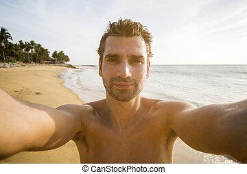 homem, praia, jovem, bonito