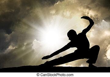 homem, pratica, artes marciais, fundo