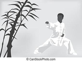 homem preto, acoplado, fu, kung