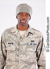 homem preto, em, uniforme militar