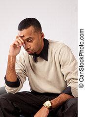 homem preto, profundamente pensamento