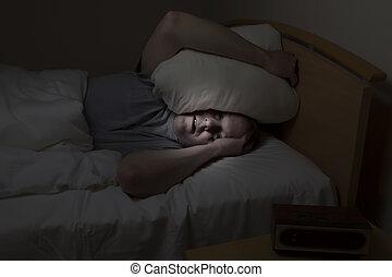 homem, Problemas, maduras, dormir