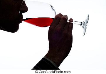 homem, provando, vinho