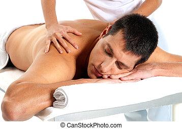 homem, recebendo, massagem, relaxe, tratamento, close-up, de, fêmea passa
