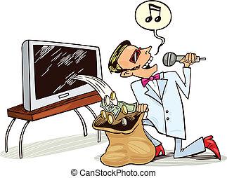 homem, receber, lucro, de, copyrights