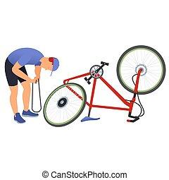 homem, reparar, um, bicicleta, chain.