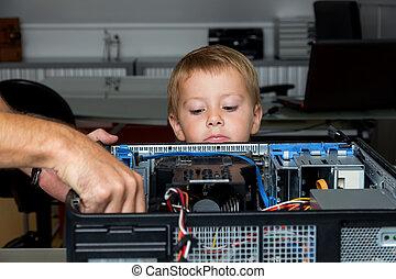 homem, reparierrt, um, computador