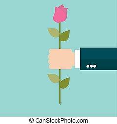 homem, rosa, flor, negócio, mão