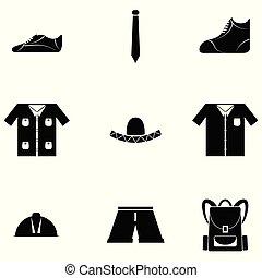 homem, roupa, ícone, jogo