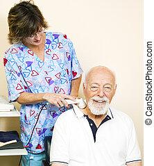 homem sênior, adquire, ultrasom